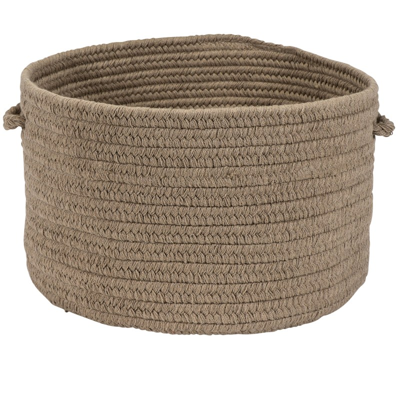 Sunbrella Solid Basket Braided Taupe Area Rugs