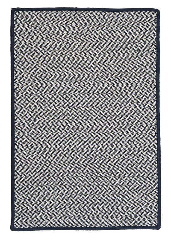 Outdoor Houndstooth Tweed Braided Blue Area Rugs