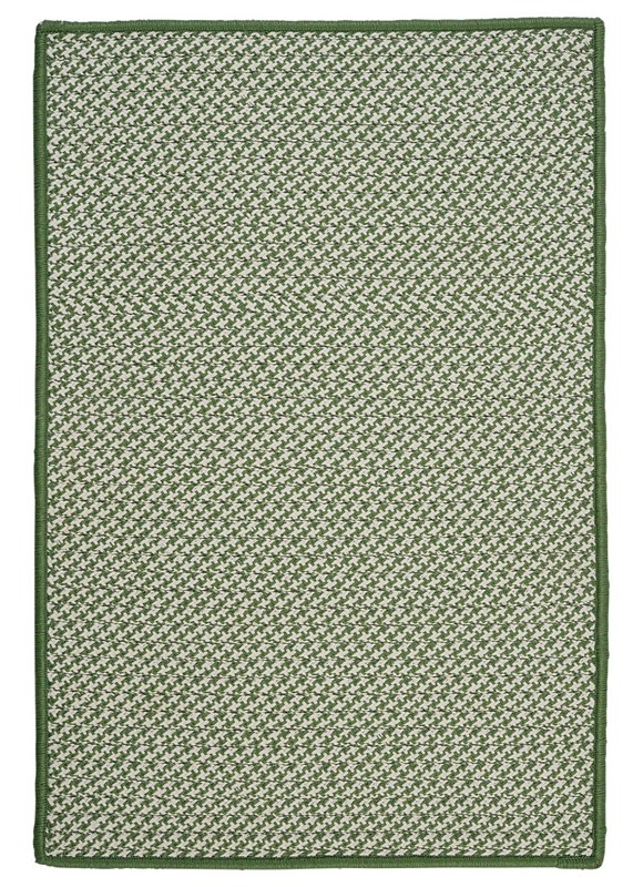 Outdoor Houndstooth Tweed Braided Green Area Rugs