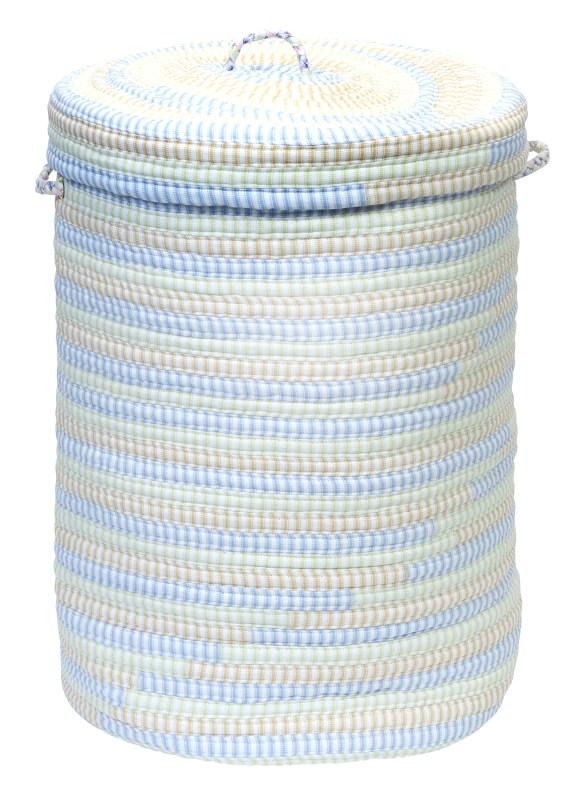 Ticking Stripe Hamper W/ Lid Braided Blue Area Rugs