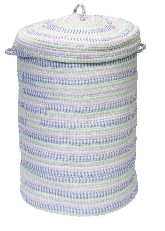 Ticking Stripe Hamper W/ Lid Braided Pink Area Rugs
