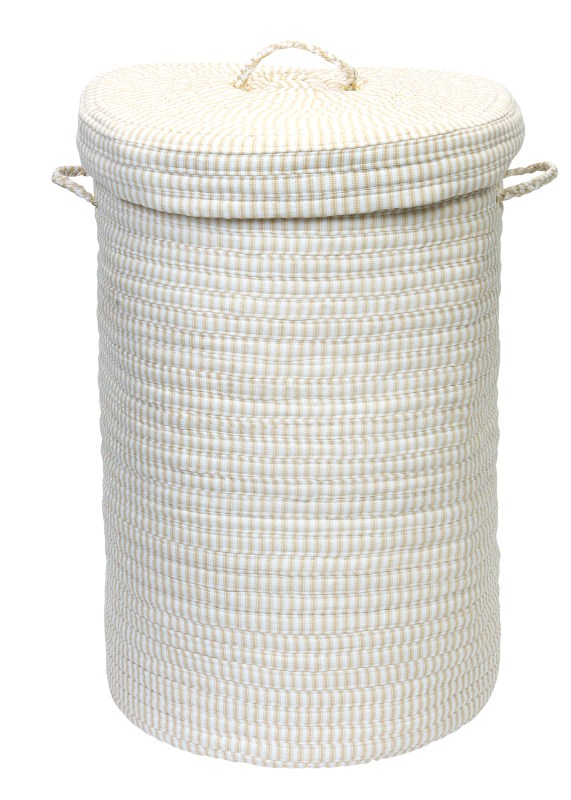 Ticking Solid Hamper W/ Lid Braided Natural Area Rugs