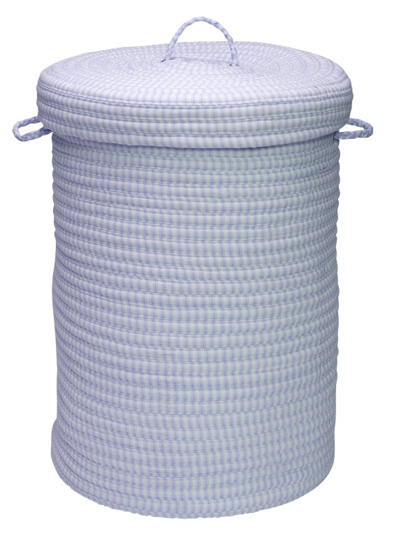 Ticking Solid Hamper W/ Lid Braided Blue Area Rugs