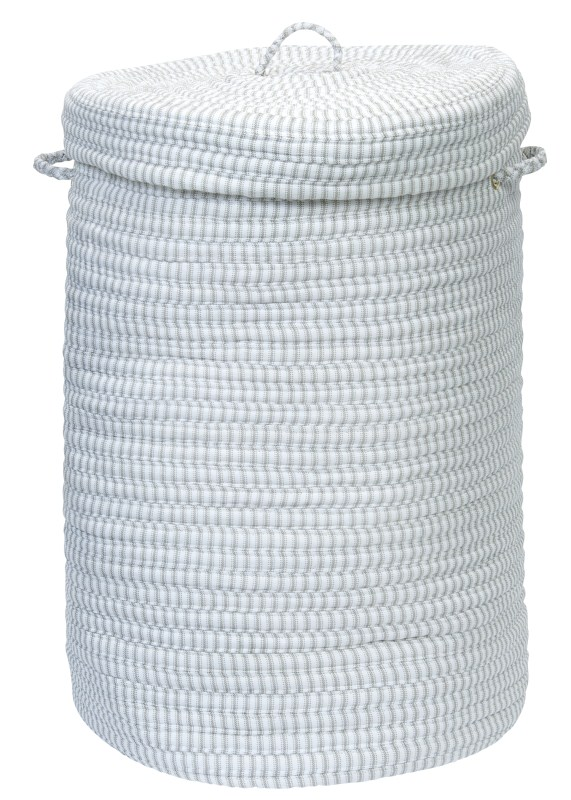 Ticking Solid Hamper W/ Lid Braided Gray Area Rugs