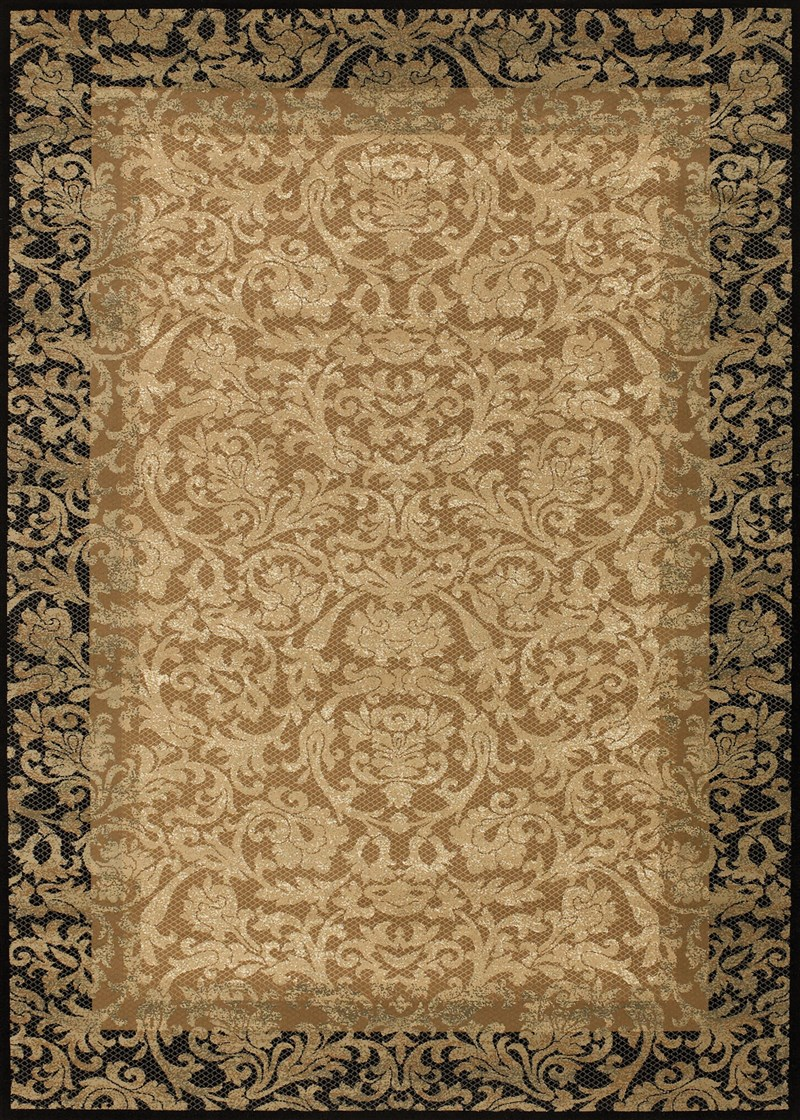 Everest Power-loomed Gold-black Area Rugs