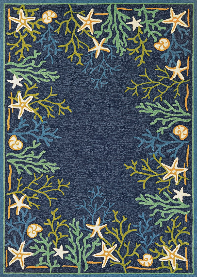 Outdoor Escape Hand-hooked Ocean-aqua Area Rugs