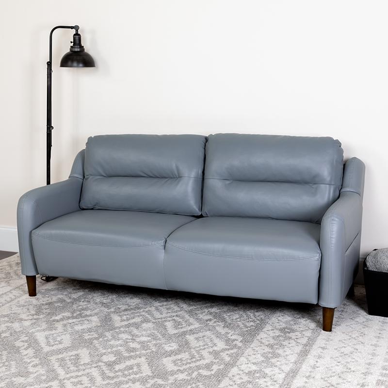 Gray Leather Sofa