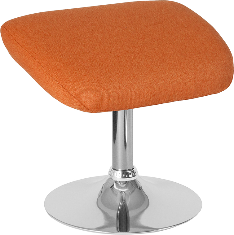 Orange Fabric Ottoman