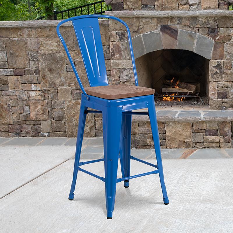 24 Blue Metal Counter Stool