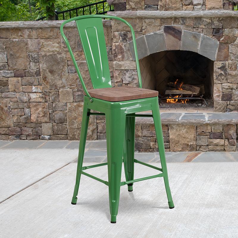24 Green Metal Counter Stool
