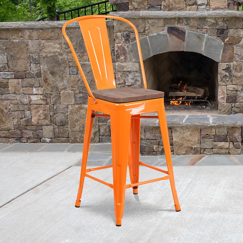 24 Orange Metal Counter Stool
