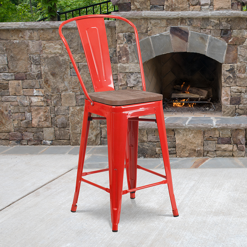 24 Red Metal Counter Stool