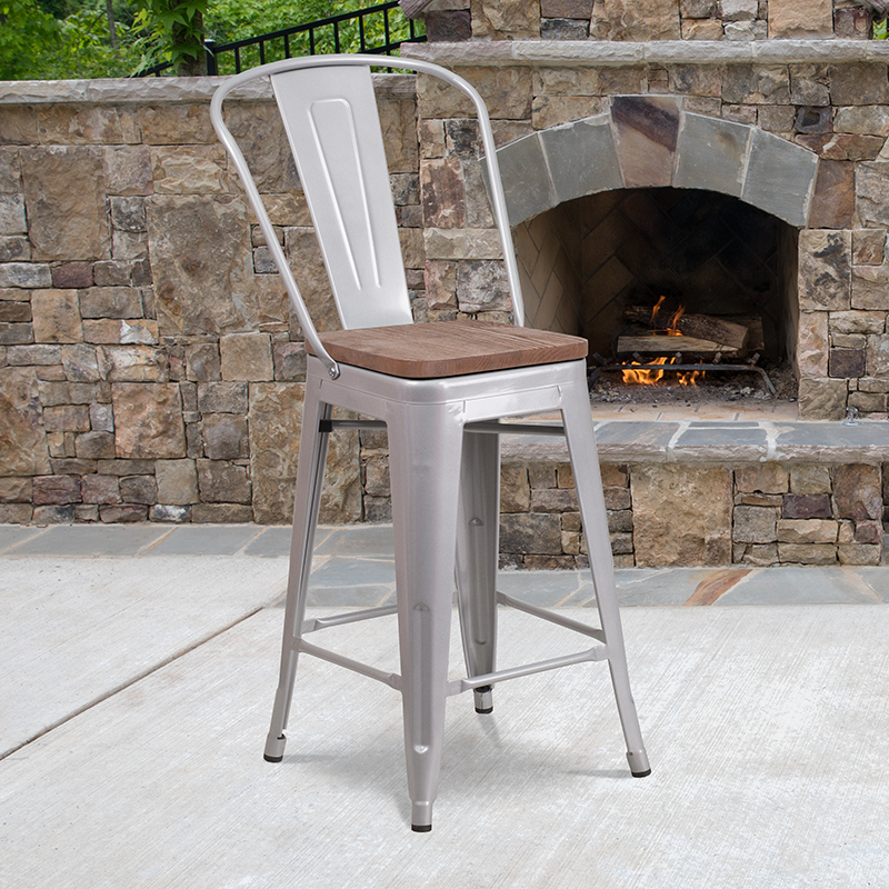 24 Silver Metal Counter Stool