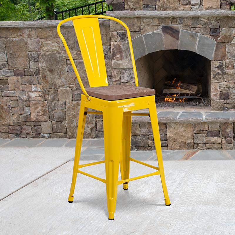 24 Yellow Metal Counter Stool