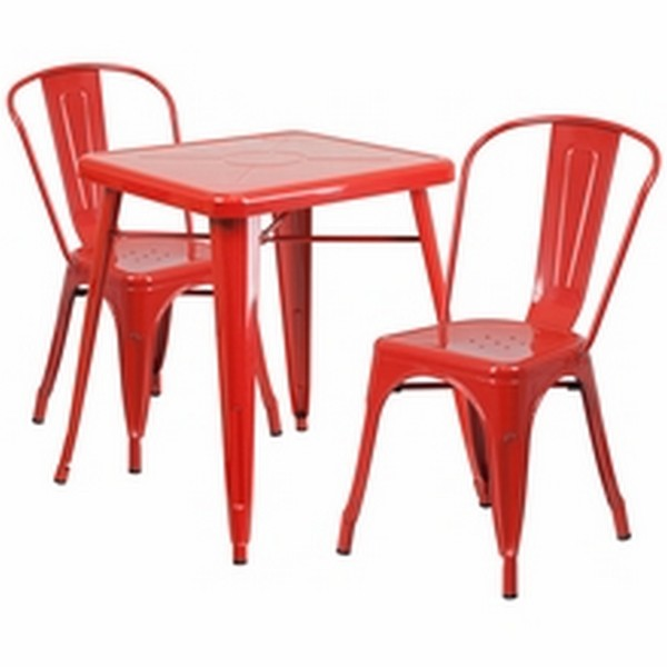 Red Metal Table Set