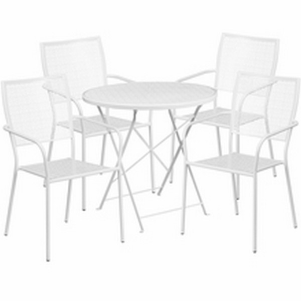 28 White Table W/ 4 Seats