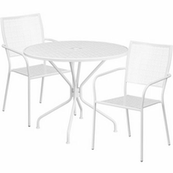 35.25 White Table W/ 2 Seats