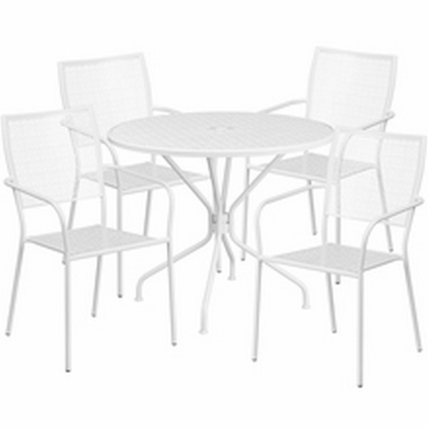 35.25 White Table W/ 4 Seats