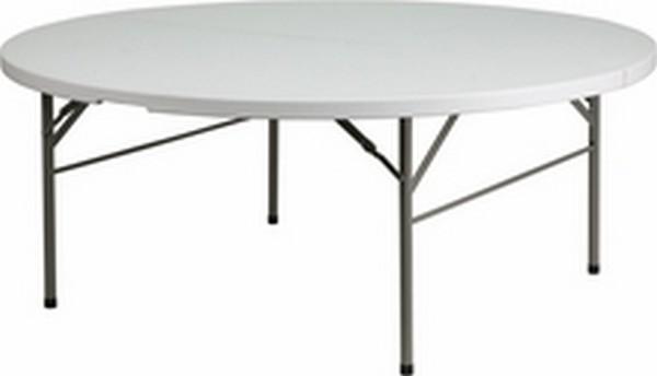 72'' Round Bi-fold White Table