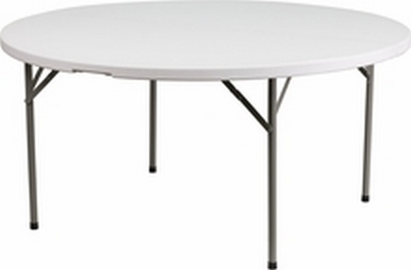 60'' Round White Fold Table