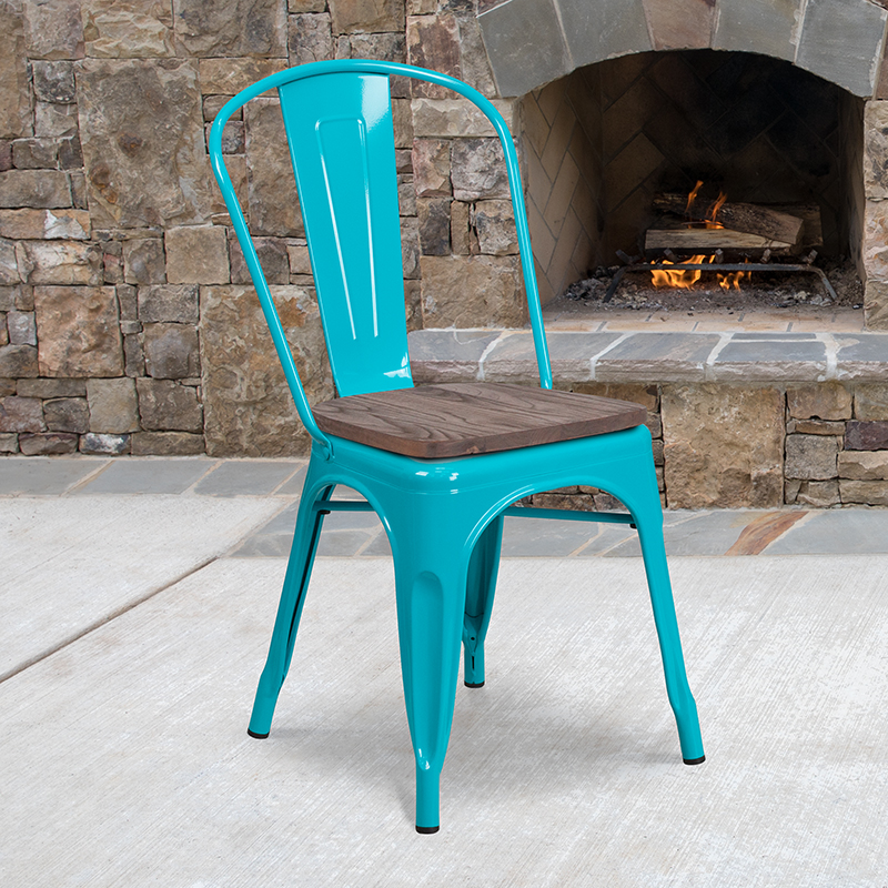 Crystal Teal-blue Metal Chair