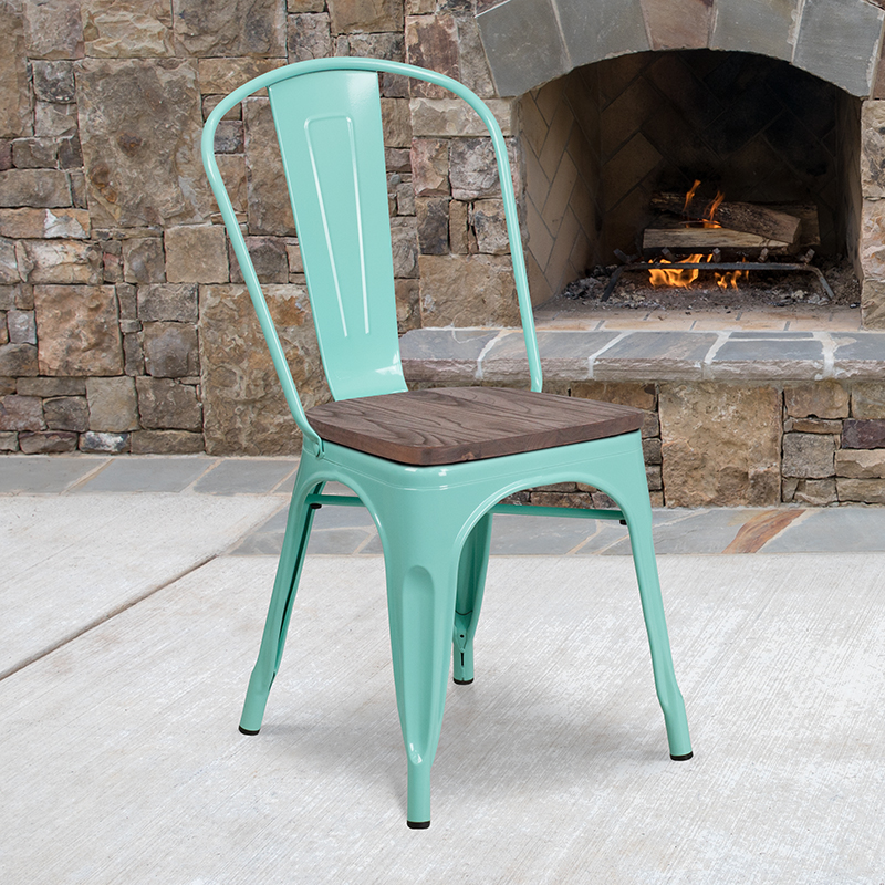 Mint Green Metal Chair