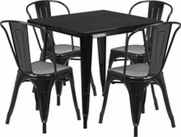 Black Metal Indoor Table Set