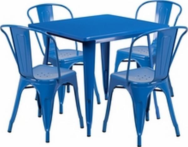 Blue Metal Indoor Table Set