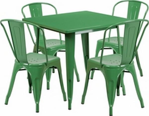 Green Metal Indoor Table Set
