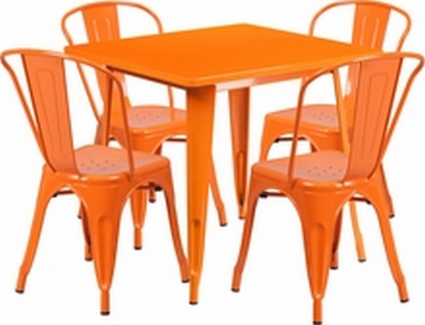 Orange Metal Indoor Table Set