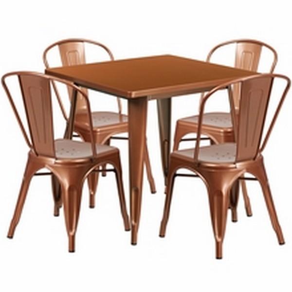 Copper Metal Indoor Table Set
