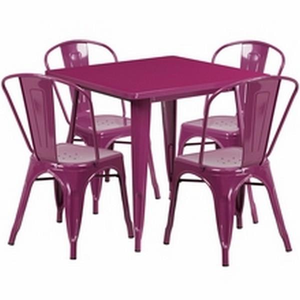 Purple Metal Indoor Table Set