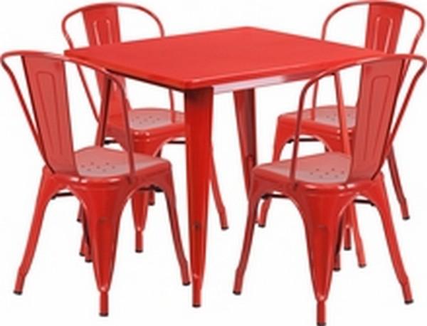 Red Metal Indoor Table Set