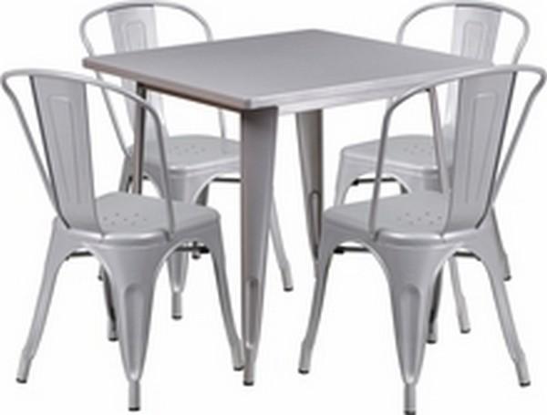 Silver Metal Indoor Table Set