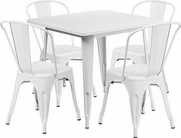 White Metal Indoor Table Set