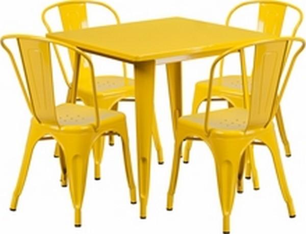 Yellow Metal Indoor Table Set