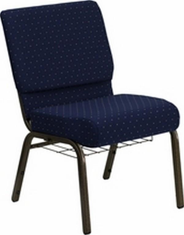 Blue Fabric Church Chair