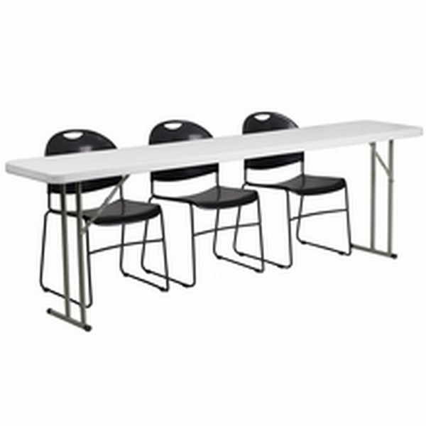 Black, White Folding Table Set