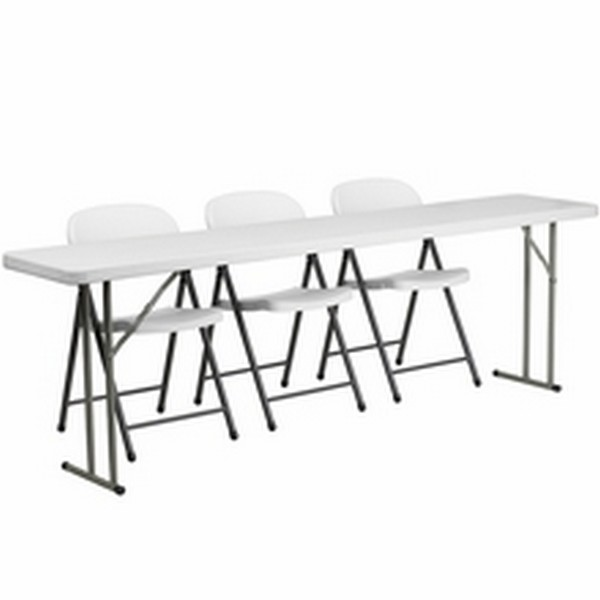White Folding Table Set