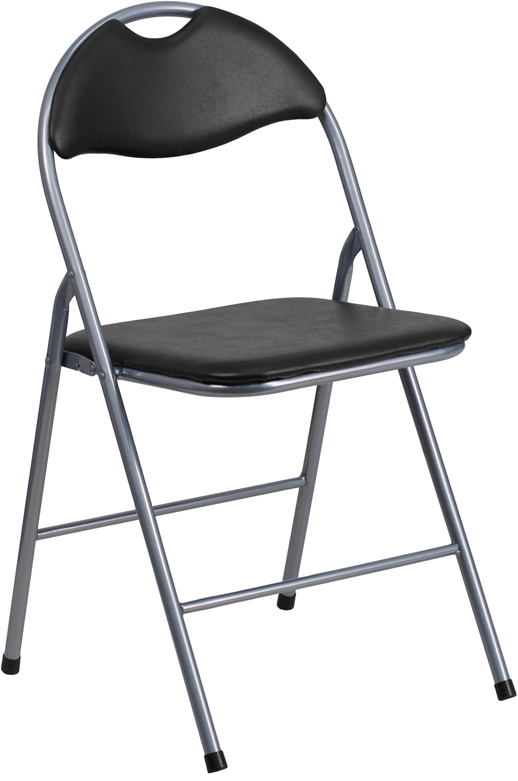 Shoppingideausa  Padded Folding Chair Black Vinyl Upholstered Seat And Back
