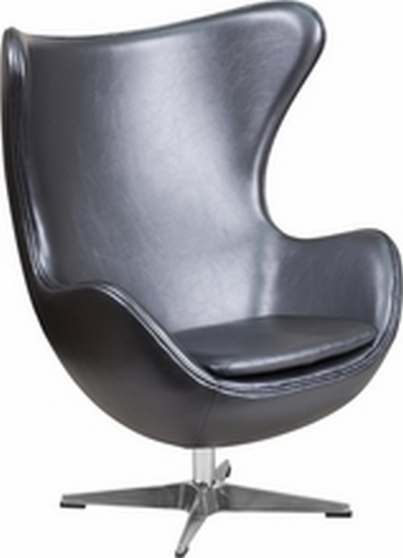 Gray Leather Egg Chair