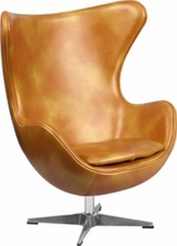 Gold Leather Egg Chair
