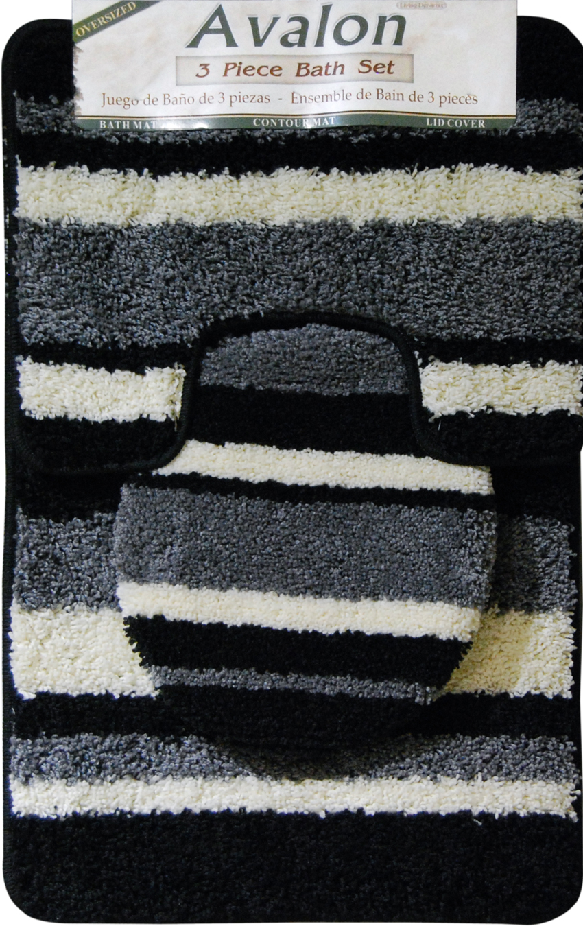 Avalon Mat Mat Machine Tufted Black Gray Area Rugs