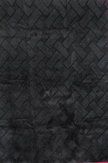 Basketweave Mat-machine Tufted  Black Area Rugs