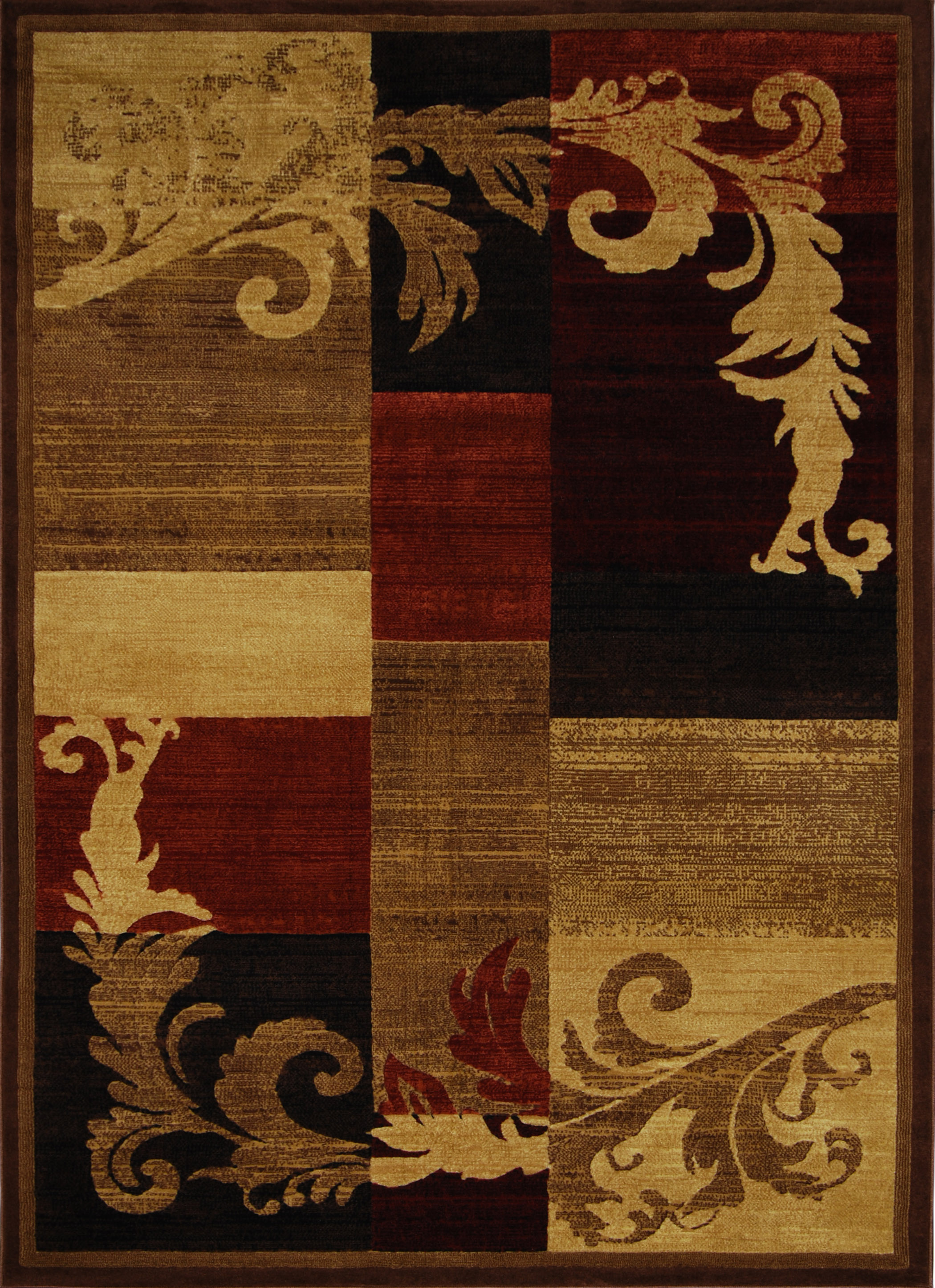 Catalina Rug Machine Woven  Brown Red Area Rugs