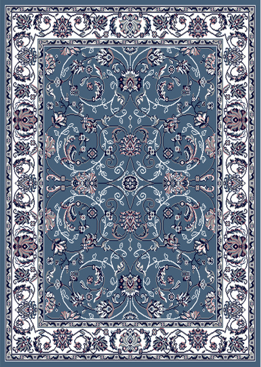 Premium Rug Machine Woven  Blue Ivory Area Rugs