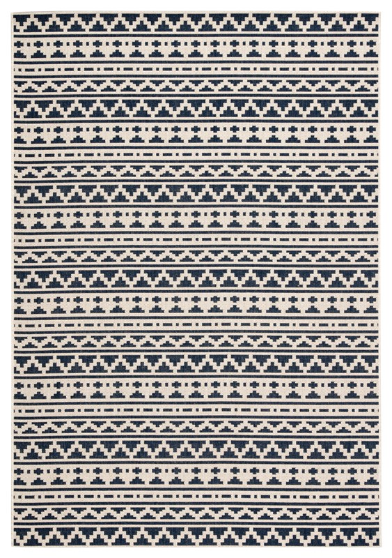 Jaipur Living Killick Indoor/ Outdoor Tribal Blue/ Ivory Area Rug