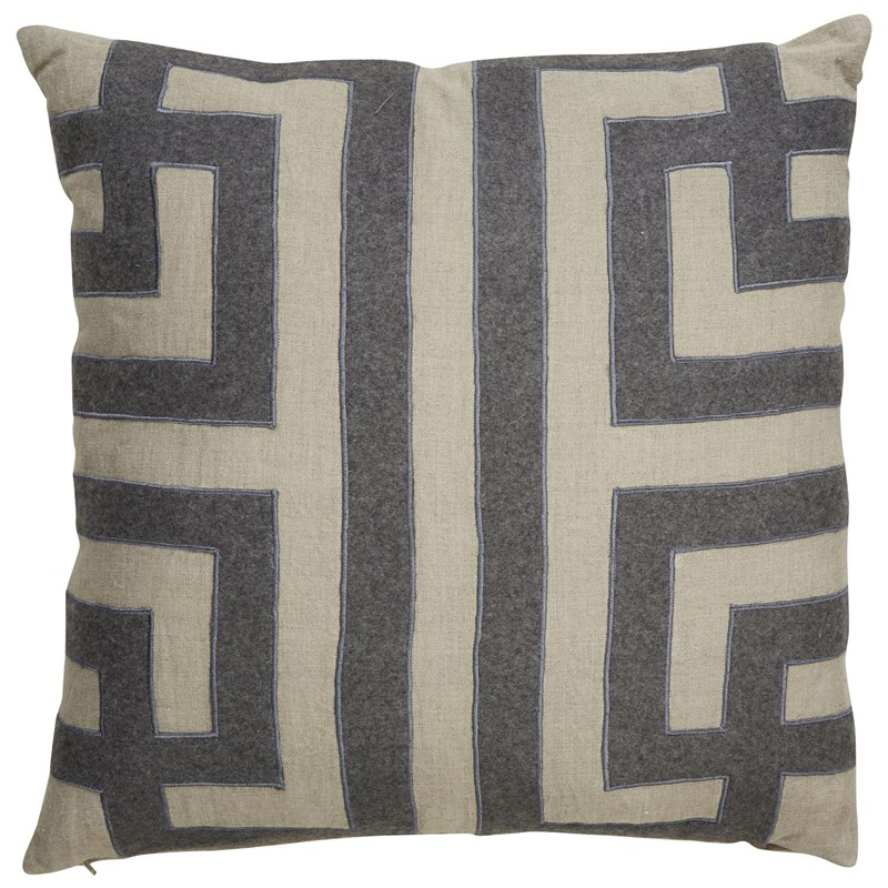 Nikki Chu By Jaipur Living Ordella Gray/ Silver Geometric Poly Throw Pillow