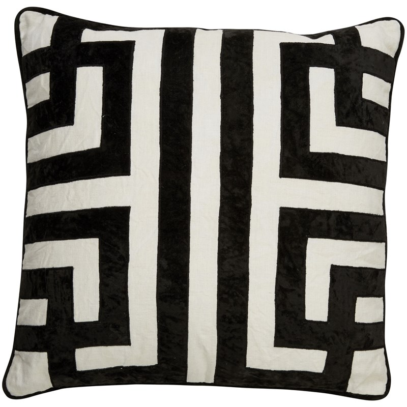 Nikki Chu by Jaipur Living Ordella White/ Black Geometric Down Throw Pillow