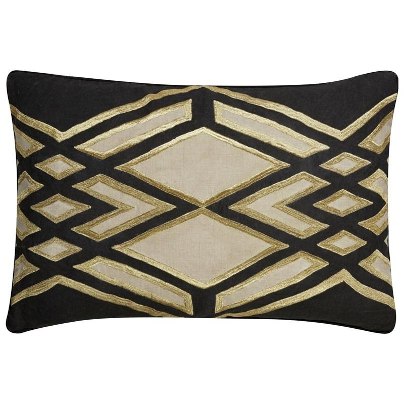 Nikki Chu By Jaipur Living Akio Black/ Beige Geometric Down Throw Pillow
